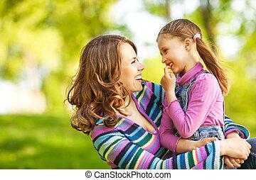 fostra och dottern, in, park., mor, day.
