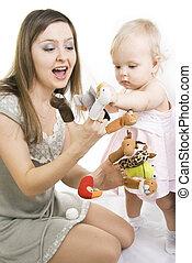 fostra och dottern, leka, med, finger, puppets.