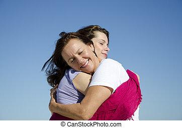 fostra och dottern, visande, kärlek, och, tillgivenhet