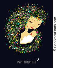 fostrar, mor, illustration, barn, dag, lycklig
