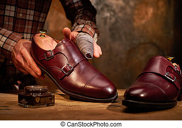 foszlány, csillogó, cipők, ember