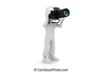 fotógrafo, 3d, homem