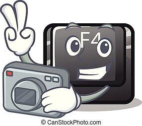 fotógrafo, botón, f4, forma, caricatura