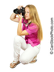 fotógrafo, cámara, hembra
