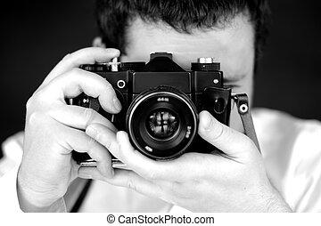 fotógrafo, câmera, estúdio