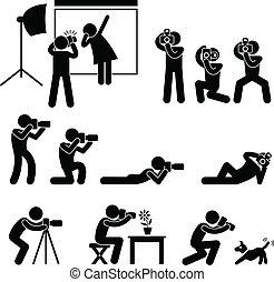 fotógrafo, cameraman, paparazzi