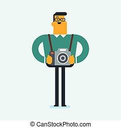 fotógrafo, cameras., caucasiano, jovem, foto