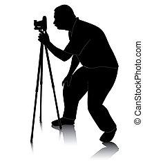 fotógrafo, cameras, tripé