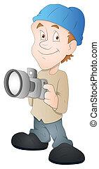 fotógrafo, carácter, caricatura
