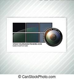 fotógrafo, cartão negócio, modelo