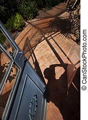 fotógrafo, casa verde
