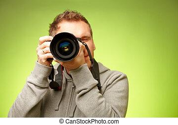 fotógrafo, com, câmera