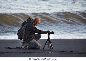 fotógrafo, com, tripé