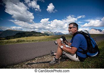 fotógrafo, com, um, câmera, e, um, lente telephoto