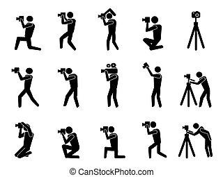fotógrafo, conjunto, negro, iconos