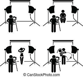 fotógrafo, estudio de la fotografía, sho
