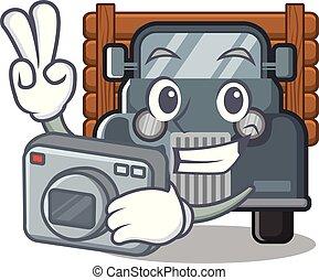 fotógrafo, forma, caminhão velho, mascote