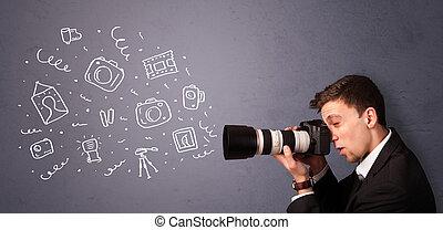 fotógrafo, fotografia, tiroteio, jovem, ícones