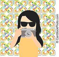 fotógrafo, hipster, caricatura, personagem