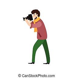 fotógrafo, homem câmera, videographer, no trabalho