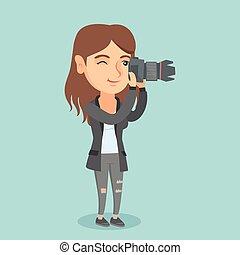 fotógrafo, levando, photo., jovem, caucasiano