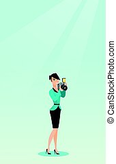 fotógrafo, levando, vetorial, illustration., foto