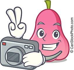 fotógrafo, maçã, caricatura, rosa, mascote