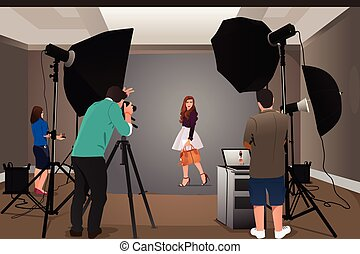 fotógrafo, modelo, disparando