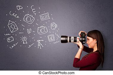 fotógrafo, niña, disparando, fotografía, iconos