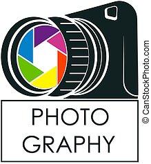 fotógrafo, símbolo, câmera