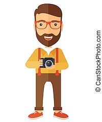 fotógrafo, seu, câmera, segurando