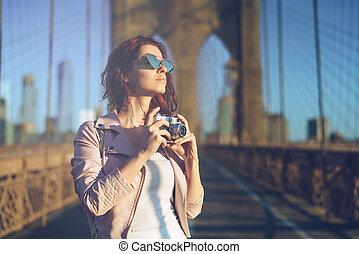 fotógrafo, sorrindo