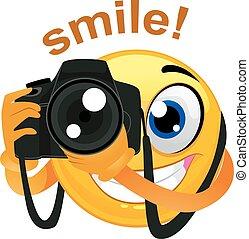 fotógrafo, teniendo cámara, digital, smiley, emoticon