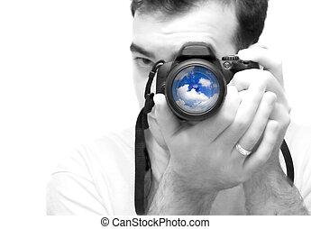 fotógrafo, tiroteio