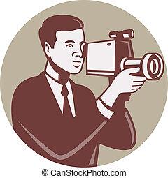 fotógrafo, tiroteio, câmera vídeo, retro