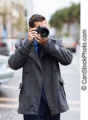 fotógrafo, toma, calle, fotos