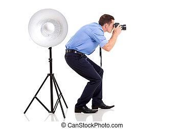 fotógrafo, toma, estudio, fotos