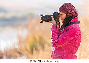 fotógrafo, toma, hembra, fotos