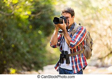 fotógrafo, tomar las fotos, en, montaña