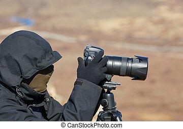 fotógrafo, tripé