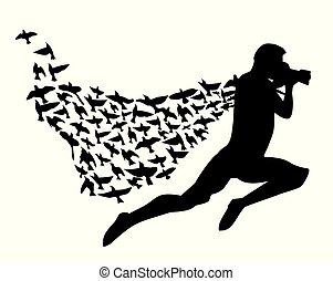 fotógrafo, voando, capote, pássaros, super, caricatura