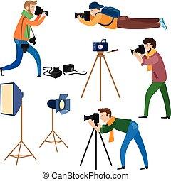 fotógrafos, no trabalho, e, profissional, equipamento