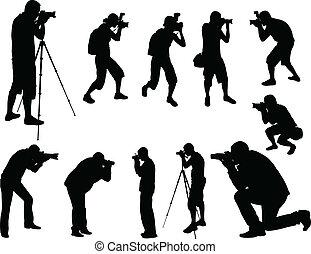 fotógrafos, siluetas