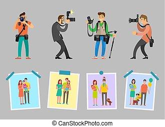fotógrafos, trabaja, estudio, muestras, familia
