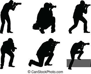 fotógrafos, vector, -
