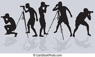 fotógrafos, vector