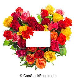 fot, cuore, regalo, colorito, mazzolino, testo, forma., rose, tuo, scheda