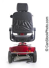 fot, folk, sparkcykel, rörlighet, äldre, motorisera, röd