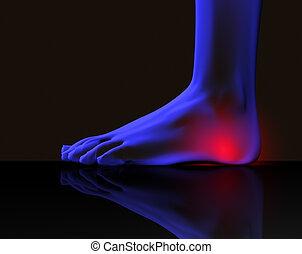 fot, och, smärta