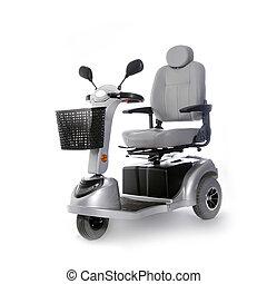 fot, rörlighet, sparkcykel, folk, äldre, motorisera